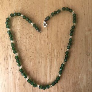 Green beaded Necklace Handmade Vintage One of Kind